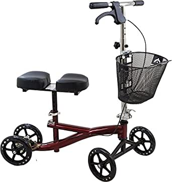 Roscoe Knee Scooter with Basket, Burgundy, Knee Walker for Ankle or for Foot Injuries, Height Adjustable Knee Crutch Medical Scooter