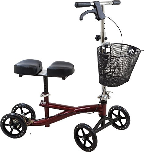 Roscoe Knee Scooter with Basket, Burgundy, Crutch Alternative for Foot or Ankle Injuries, Adjustable Handlebar and Knee Platform Height