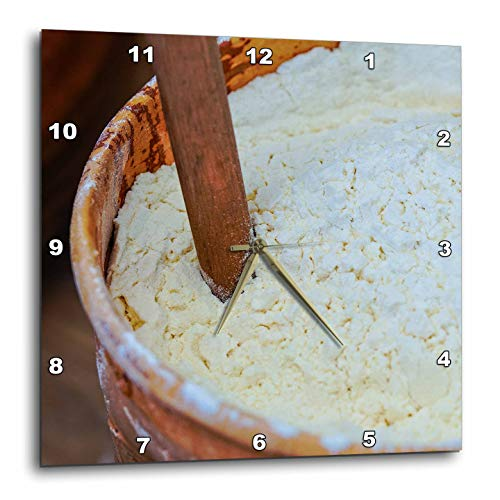 (3dRose Alexis Photography - Food - an Earthenware Bowl Filled with Flour. A Wooden Stick in a Flour - 15x15 Wall Clock)