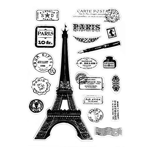 Feamos Clear Stamps Paris Tower Silicone Stamp for Cards Making DIY Scrapbooking Album Cling Seal Craft Decor Gift -