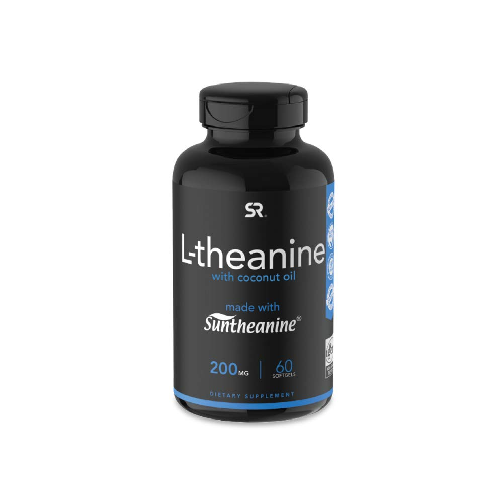 Suntheanine® L-Theanine 200mg (Double-Strength) in Cold-Pressed Organic Coconut Oil; Non-GMO & Gluten Free - 60 Liquid Softgels