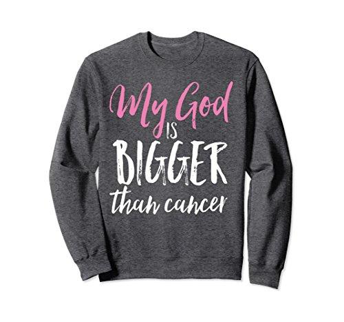 Unisex My God is Bigger Than Cancer Christian Survivor Sweatshirt Small Dark Heather ()