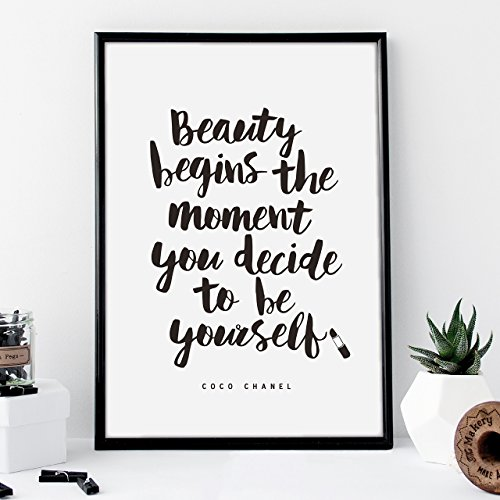 Coco Chanel quote Typography Poster Beauty Begins the Moment You Decide to Be Yourself Wall Decor Motivational Print Inspirational Poster Home Decor (Coco Chanel Art)