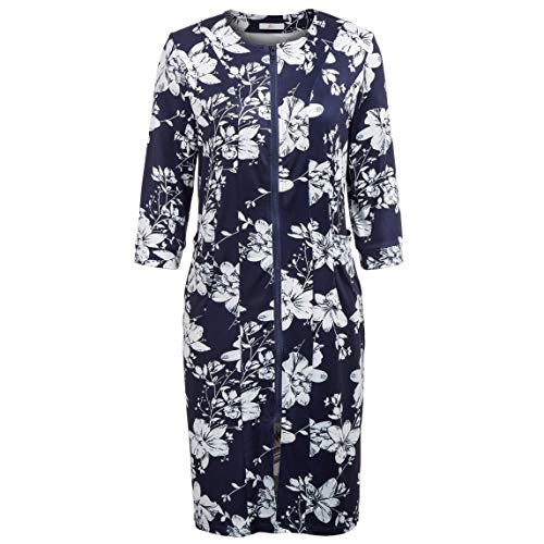 Floral Sleepwear Robe for Women Long Bathrobe with Zipper Front Nightwear Pajama Navy Blue L