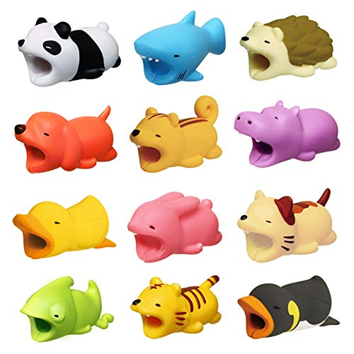 Diruite 12-Pack for Cable Bite, Cute Animal Cable Protector for iPhone Cable Bite Data Line Cord Cell Phone Accessories