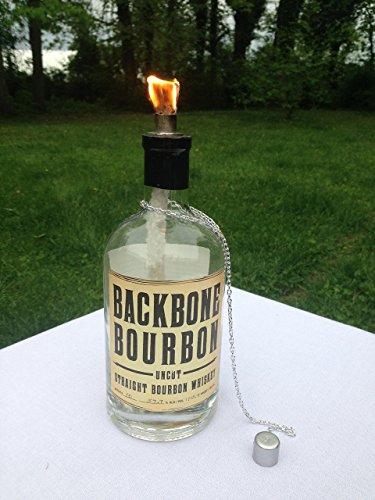 (Tiki Torch - Backbone Bourbon Uncut Straight Bourbon Whiskey Bottle - Oil Lamp - Outdoor Lighting - Garden Decor - Bourbon Decor)