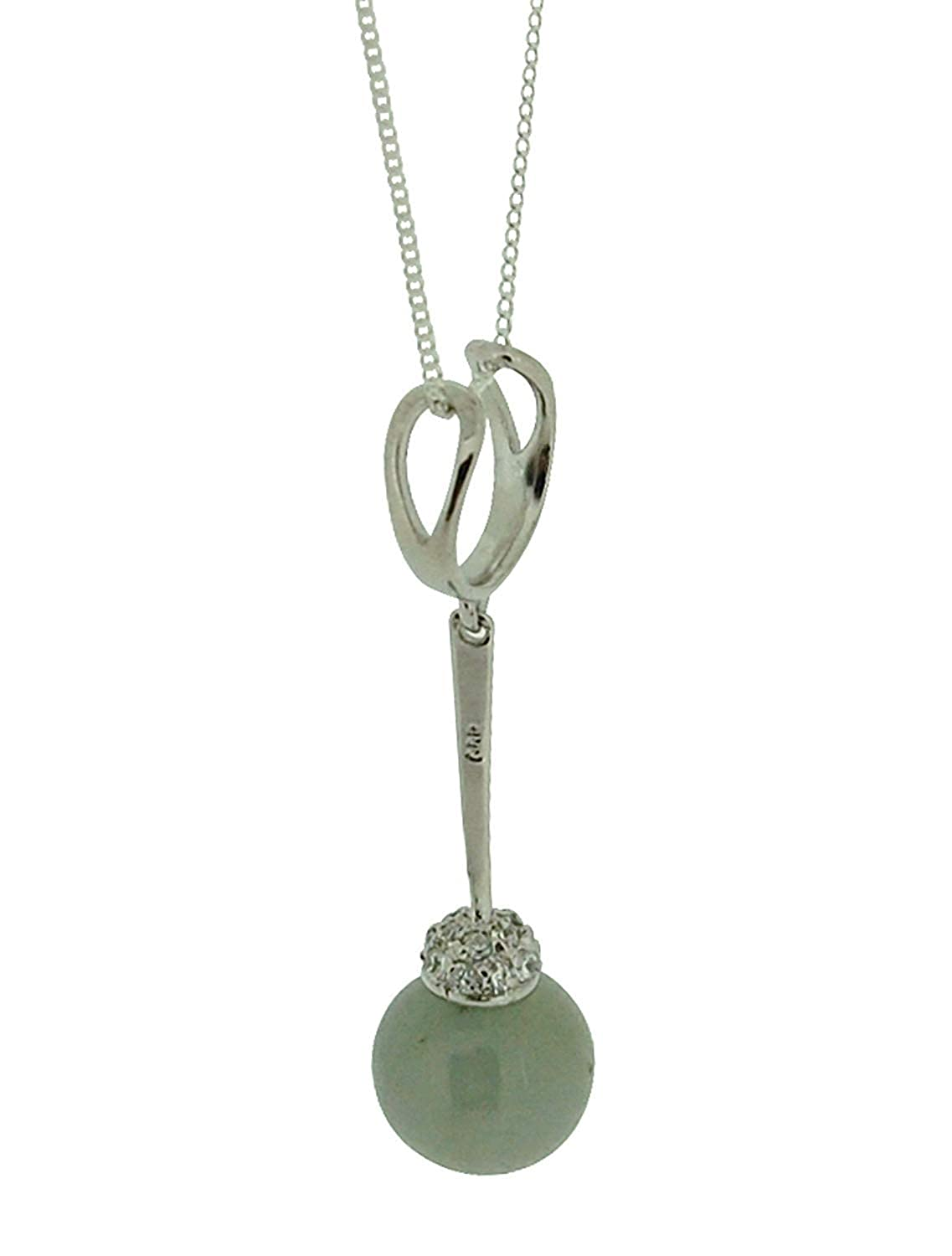 The Olivia Collection TOC Sterling Silver Jadeite Sterling Silver Drop Ball Pendant Necklace 18