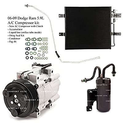 2006 2007 2008 2009 Dodge Ram 2500 3500 5.9L Diesel New A/C AC Compressor kit with Condenser 1 Year Warranty: Automotive