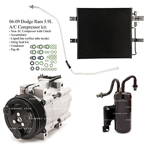 2006 2007 2008 2009 Dodge Ram 2500 3500 5.9L Diesel New A/C AC Compressor kit with Condenser 1 Year ()