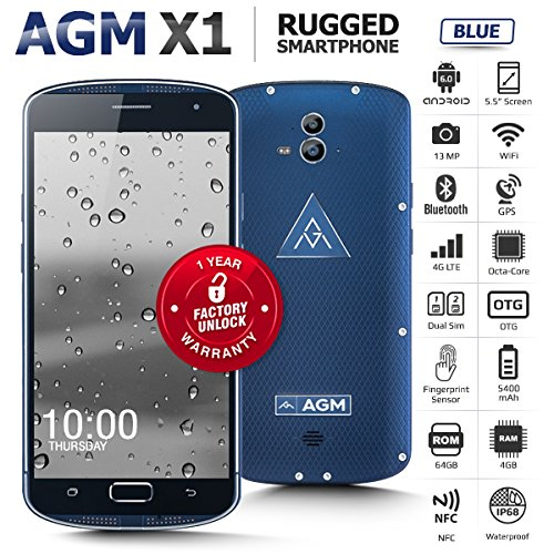 AGM X1 4G FDD LTE Outdoor Handy Ohne Vertrag (5,5 Zoll Super AMOLED Screen Mit 5400 mAh Akku Android 5.0 Dual Sim Smartphone Octa Core 4GB + 64GB, 5MP + 13MP Dual Kamera) - IP68 Wasserdicht Staubdicht Outdoor SOS Hilfe Blau [AGM Offizielle]
