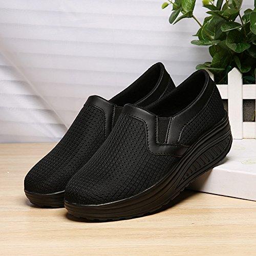 Cybling Dames Ademende Loafer Schoenen Mode Low Top Casual Reizen Sneakers Zwart