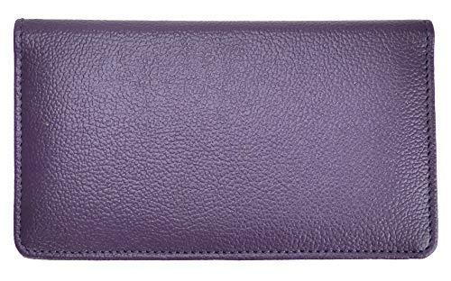 Dark Purple Textured Leather Checkbook Cover