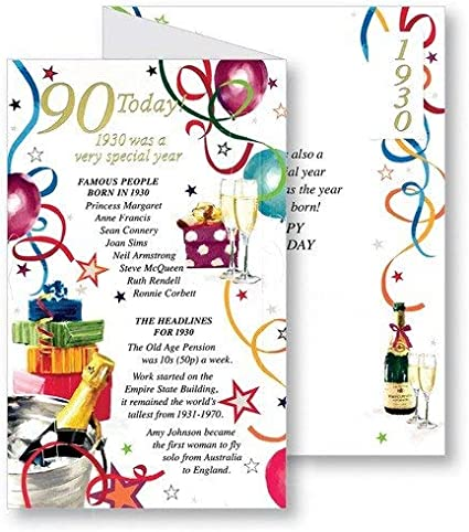 90th MALE// FEMALE  DIFFERENT VARIETY OF HAPPY BIRTHDAY CARDS ~ AGES 1st