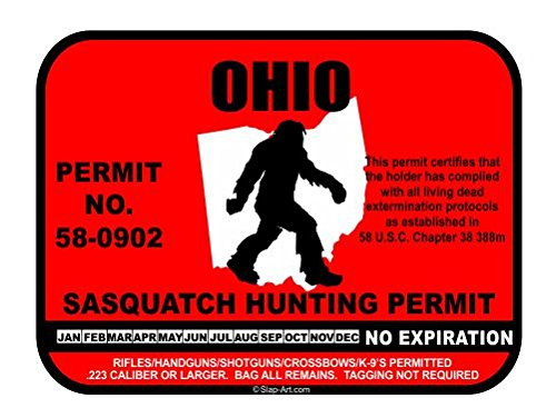 JS Artworks Ohio Sasquatch Hunting Permit License Bigfoot Vinyl Sticker Decal