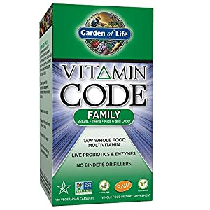 Garden of Life Family Multivitamin Supplement - Vitamin Code Raw Whole Food Multivitamin for Men, Women, and Kids, Vegetarian, 120 Capsules
