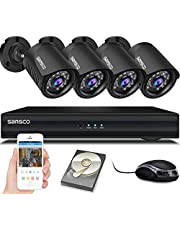 SANSCO Smart HD CCTV Security Camera System with 1080P Lite 4 Channel DVR (4) 2.0MP Indoor Outdoor Bullet Cameras and 1TB Hard Drive (1920x1080 1080p, Continuous/Motion Recording, Instant Mobile App Access with Email Alerts)