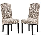 Cheap Merax Fabric Dining Chairs Flower Patterned Fabric Accent Chair with Solid Wood Legs, Set of 2 (Beige&Flower)