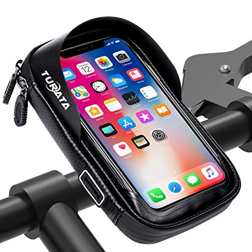 TURATA Handlebar Bike Bag Waterproof Bike Pouch Road Bag Cell Phone Holder Case Front Tube Phone Mount Bag with Sensitive Touch Screen (Black) ()