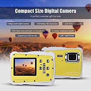 Digital Camera for Kids, YTAT Waterproof Kids Digital Camera, Underwater Action Camera Dust Proof Camcorder with 16G SD card 5M CMOS for Children Boys Girls Gift Toys by YTAT