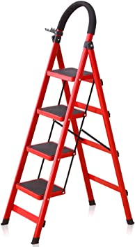 Escaleras Escalera plegable de 4 peldaños Acero resistente con antideslizante, Taburete con peldaño, Escalera de tijera segura, Escalera telescópica, Escalera de extensión, Escalera de escalera multiu: Amazon.es: Bricolaje y herramientas