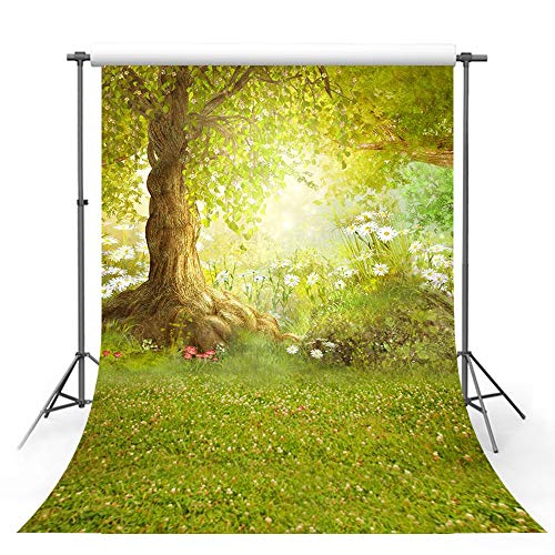 MEHOFOTO Spring Photography Backdrop Easter Woodland Big Tree Meadow Grass White Flower Fairy Tale Photo Studio Booth Background -