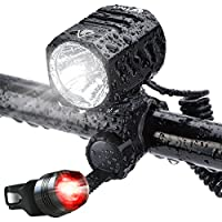 Te-Rich Super Bright 1200 Lumen Bicycle Headlight - Cree XM-L2 LED Waterproof Bike Front Light Handheld Flashlight with USB Rechargeable Batteries (Free Taillight Included)