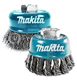 Makita 2 Piece - Knotted & Crimped Wire Cup Set For Grinders - Heavy & Light-Duty Conditioning For Metal - 3 Inch x 5/8-Inch | 11 UNC