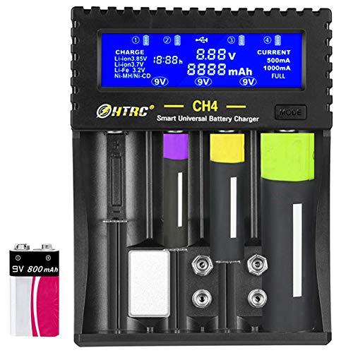 Universal Battery Charger,LCD Display USB Smart Battery Charger for Rechargeable Batteries Ni-MH/Ni-Cd AA AAA AAAA C SC, Li-ion 18650 18500 17670 17500 14500 10440 16340 26700 26650 22650 9V(6F22)