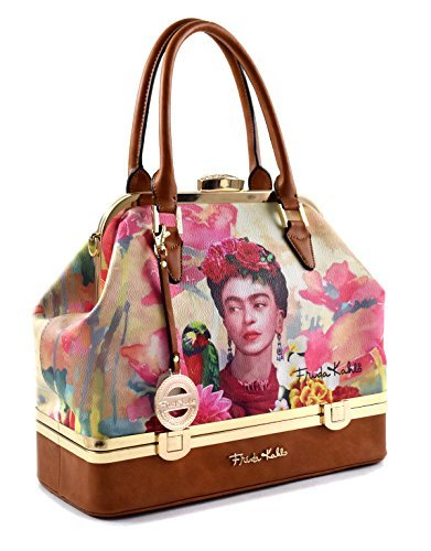 - Genuine Frida Kahlo Bottom Compartment Tall Satchel Handbag (TAN)
