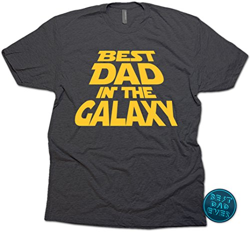 Best Dad in the Galaxy T-Shirt, Father's Day Gift for Dad & Sticker. Large (Black Heather) Worlds Best Dad