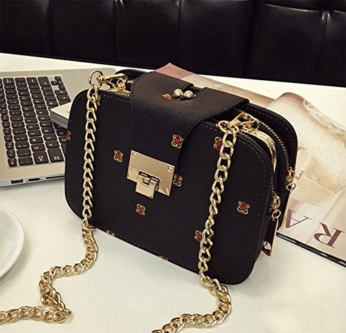 MEILI Bolsos de moda Hombro Messenger Bag Mobile Small Bag Chain Bag Small Bag Set Joker moda casual uno , meters of white black