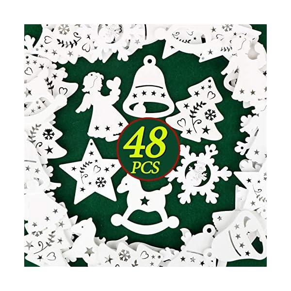 48pz Ciondoli in Legno per Albero di Natale Appesso Decorazioni Natalizie Addobbi Natalizi Ornamenti Feste Angelo Stella Fiocco di Neve Campana Cavallo Bianco 3 spesavip