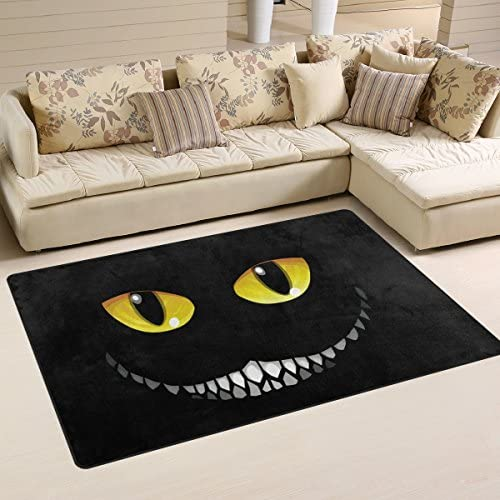 Yochoice Non-slip Area Rugs Home Decor, Hipster Cool Black Cat Animal Floor Mat Living Room Bedroom Carpets Doormats 60 x 39 inches