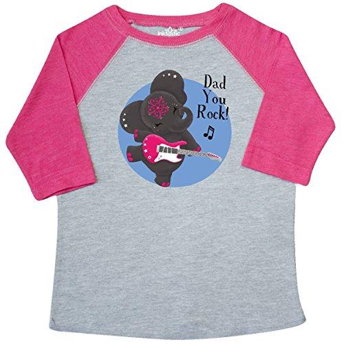 inktastic Dad You Rock Toddler T-Shirt 3T Heather and Hot Pink - Tiny (Dad Rocks Toddler T-shirt)