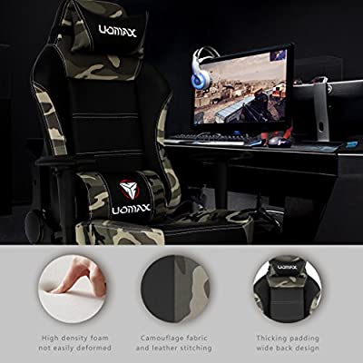 Uomax Swivel Gaming Chair Leather Racing Chair for Gaming High Back Ergonomic Home Office Desk Chair with Massage Function and Retractable Footrest from Uomax