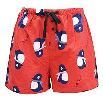Leisureland Women's Cotton Flannel Pajama Sleepwear Lounge Boxer Shorts Penguin Print Red Small