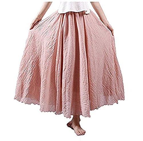 CoutureBridal® Femme Jupe Longue Maxi d'été en Coton Boheme Jupe 12 Couleurs Rouge Clair 85CM