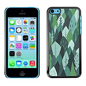 X-ray Impreso colorido protector duro espalda Funda piel de Shell para Apple iPhone 5C - Trees Forest Nature Green Drawing Summer