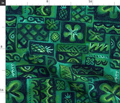 (Spoonflower Turquoise Tiki Fabric - Green Blue Vintage Tropical Tiki Floral Tiki Vintage Hawaiian Tropical Mid Century Retro by Woodyworld Printed on Petal Signature Cotton Fabric by The Yard)