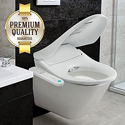Inus Elongated Bidet Toilet Seat with Advanced Self-Cleaning Stainless Steel Nozzle, Tankless Direct Flow Instant Heating System, Smart Touch Panel, Adjustable Warm Water & Heated Seat Temperature.