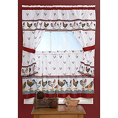 3 Piece Red White Rooster Kitchen Tiers Valance Set 57x36 Inch, Dark Red  Color Chicken