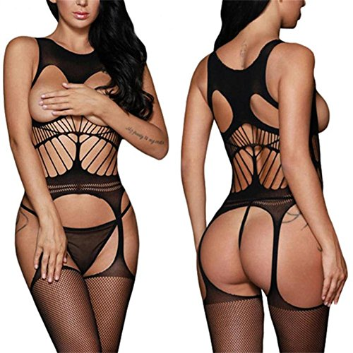 BOOMLEMON Women's Open Bust Bodystocking Crotchless Striped Lingerie Bodysuit Black