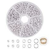 PandaHall Elite 1 Box Iron Double Jump Ring Split Rings 4-10mm in Diameter Silver Color for Jewelry Making