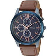 [Sponsored]GUESS Men's Stainless Steel Leather Casual Watch, Color: Blue-Tone/Brown (Model:...