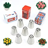 TANGCHU Russia Icing Piping Nozzles Large Size Pastry Tips Cake Sugarcraft Decorating Tool Set Of 7 Pieces- Mothers Day Gift