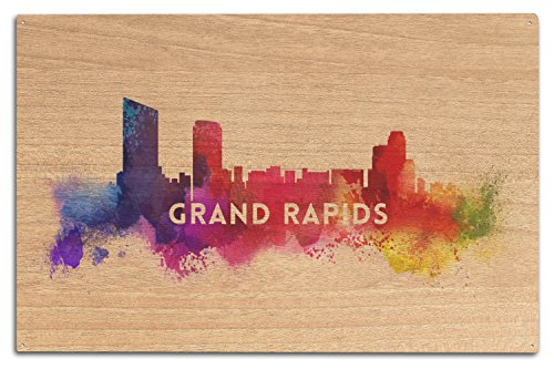 - Lantern Press Grand Rapids, Michigan - Skyline Abstract (10x15 Wood Wall Sign, Wall Decor Ready to Hang)