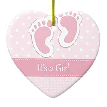 amazon com zazzle baby girl footprints adorable ceramic ornament