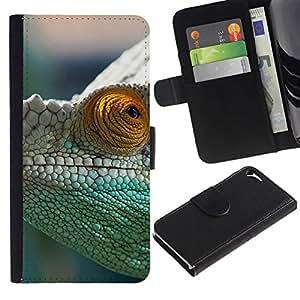 NEECELL GIFT forCITY // Billetera de cuero Caso Cubierta de protección Carcasa / Leather Wallet Case for Apple Iphone 5 / 5S // Camaleón verde