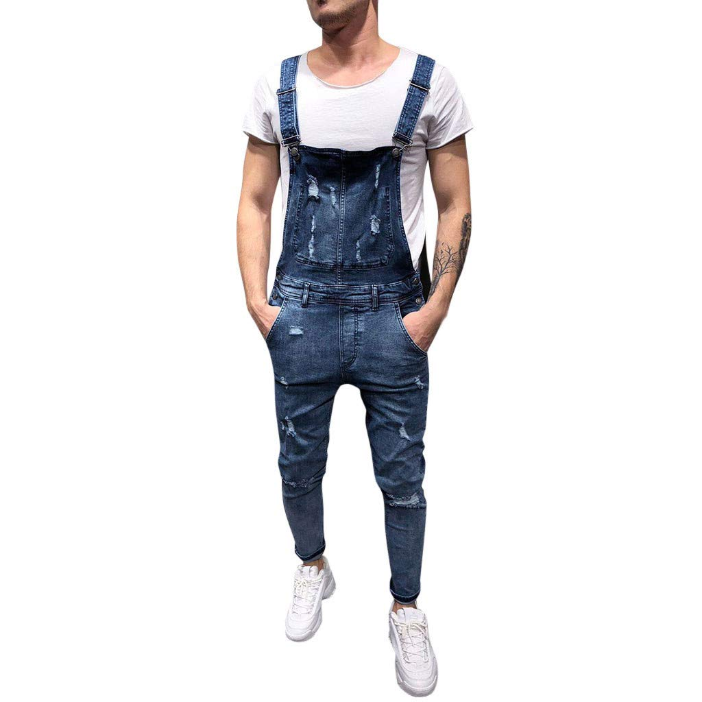 Mnyycxen Men's Casual Washed-Denim Bib Overalls Fashion Slim Fit Ripped Destroyed Jeans Pants Jumpsuit with Pockets