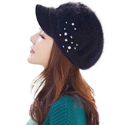 Womens Newsboy Cap Rabbit Fur Winter Hat Ladies Beret Hat with Visor Cloche Hats Lined Black (Fur Newsboy)